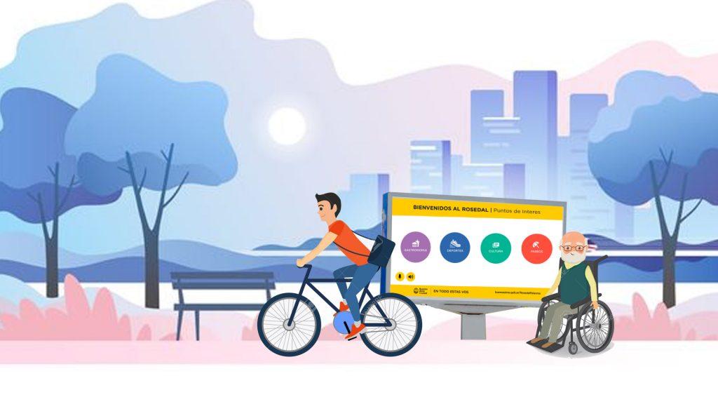 Ilustración de Pantallas Accesibles en la ciudad